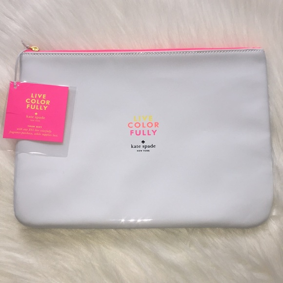 Kate Spade Cosmetic Bag NEW Zip Top White ed997ace47776